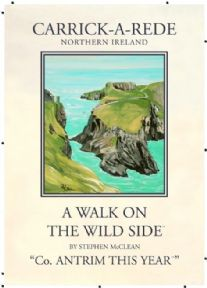 Vintage N. Ireland travel poster - Carrick-A-Rede